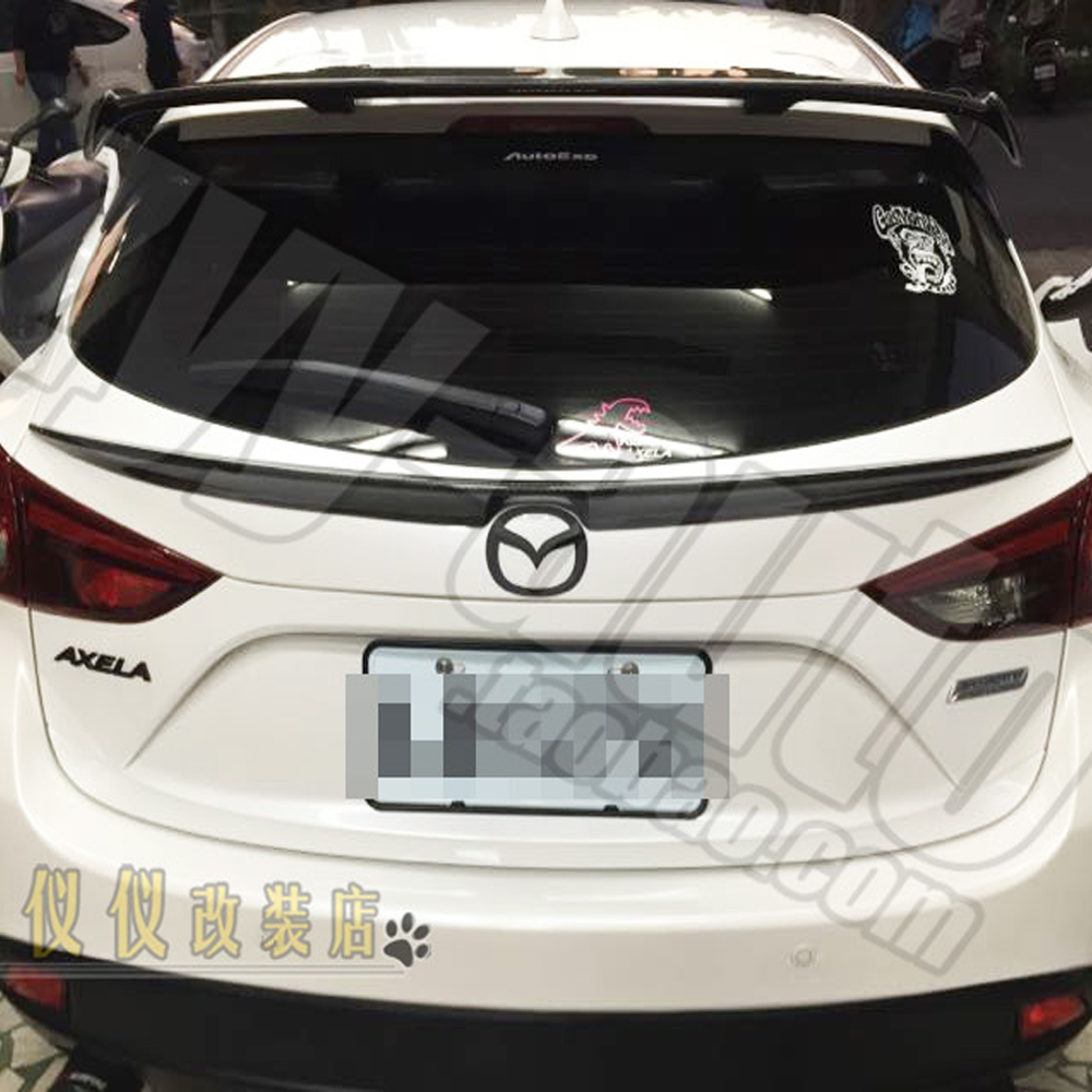 Carbon Fiber Rear Middle Spoiler Wing for Mazda 3 Axela Hatchback 2014 2016