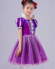 Little Girls Princess Rapunzel Costume Puff Sleeve Dress, Cosplay Halloween Birthday Party Dress Fancy 120-150cm