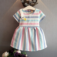 2017 New 2 6Y Girls Dress Colorful Outdoor Spring Rainbow Children Clothing Summer Princess Wedding Party
