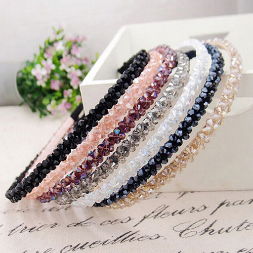 Women Handmade Headband Flower Crystal Beads Hairband Hair Band Hair Clasp Hot Selling metting joura vintage bohemian ethnic tribal flower print stone handmade elastic headband hair band design hair accessories