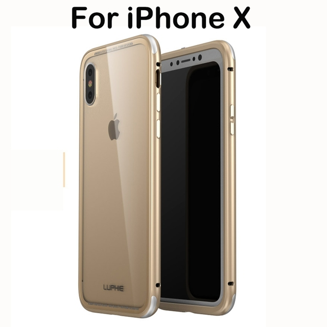 the latest b27bc b380f US $15.59 40% OFF|Luxury Metal Frame for iPhone X Case Metal Bumper Case  with Transparent Tempered Glass Back Cover Protective Shell for iPhone  10-in ...