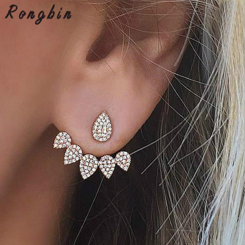 Korean Jewelry 2016 New Crystal Front Back Double Sided Stud Earrings For Women Fashion Ear Jacket Piercing Earing Koyle золотые серьги по уху