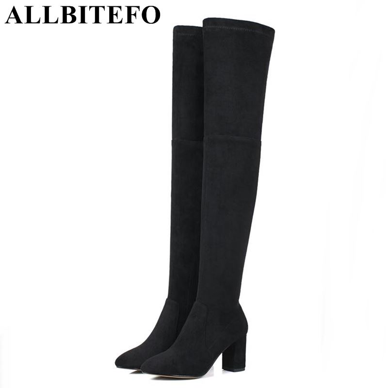 ALLBITEFO Nubuck leather+Stretch cloth thick heel women boots new winter high-heeled snow long boots high over the knee boots