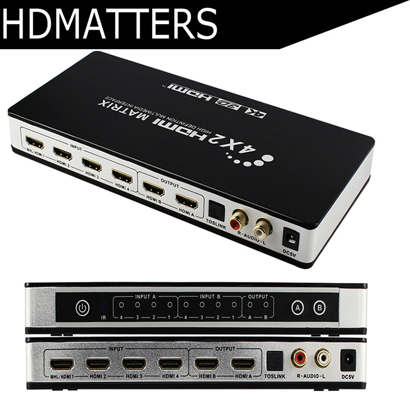 HDmatters 4K HDMI Matrix 4X2 digital toslink audio+L/R out HDMI 4 in 2 out Switcher Splitter with remote