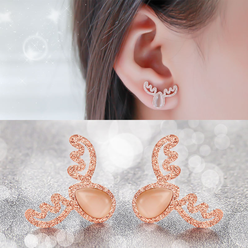 2016 new 18K rose gold earrings female Korean fashion Christmas