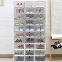 High Quality 3pcs/bag Creative Transparent Plastic shoe box Shoe storage Artifact Japanese Flip-drawer Box