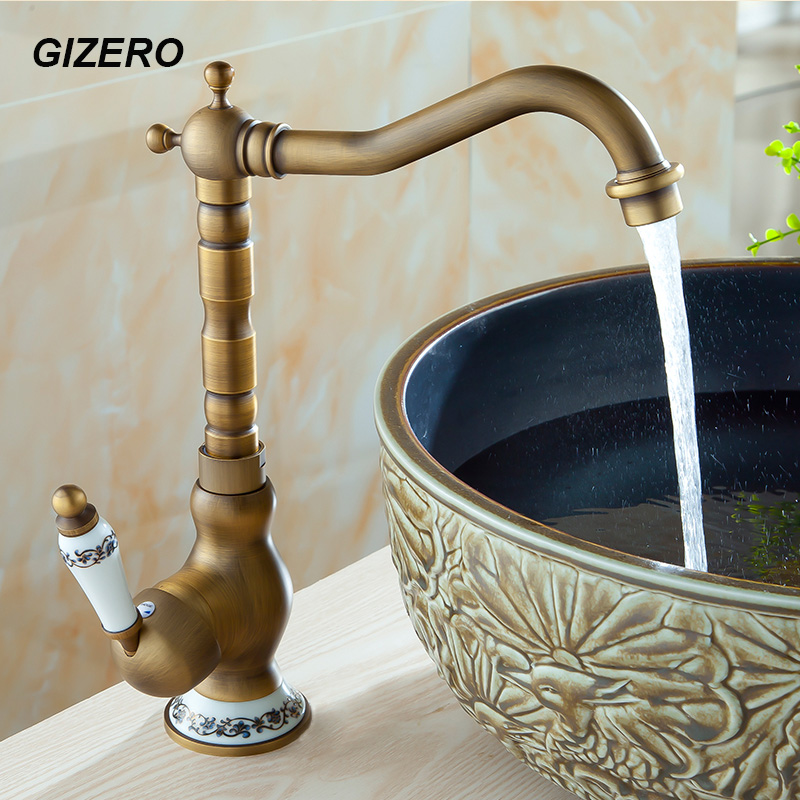 Royal Style Antique Faucet Basin Mixer hot and cold Swivel with Ceramic Deck Mounted Sink Vanity
