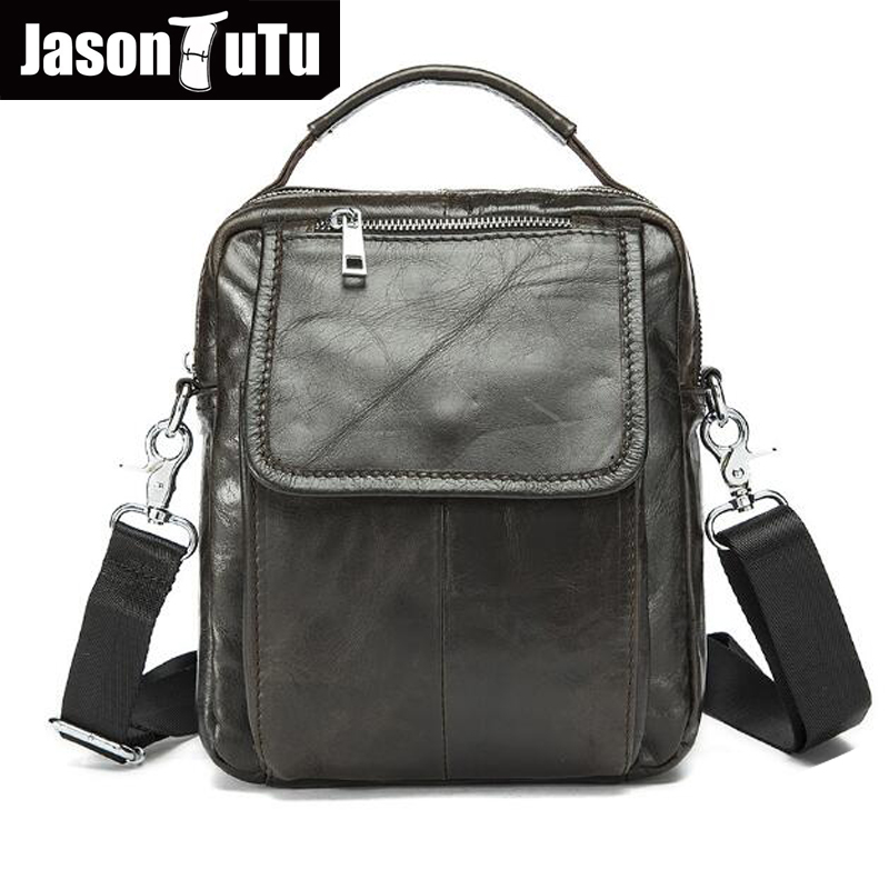 JASON TUTU Genuine Leather Men bags Brand Designer Handbags black small Shoulder bag Men Messenger Bags