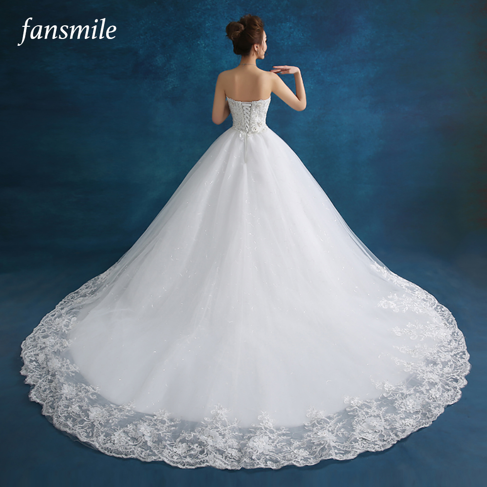 Fansmile 2019 New Luxury Lace Ball Gown Wedding Dresses Long Train Off The Shoulder Bridal Wedding Gowns Customized FSM-505T