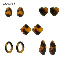 IngeSight.Z Fashion ZA Jewelry Acrylic Resin Geometric Stud Earrings for Women Statement Tortoiseshell Hollow Out Oval Earrings цены