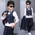 5 Pieces Spring Boy Stylish Suit Blazer Jacket + White +Blouse +Pants+Bow  +Vest Kid Clothing Set