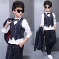 5 Pieces Spring Boy Stylish Suit Blazer Jacket + White +Blouse +Pants+Bow  +Vest Kid Clothing Set