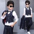 5 Unidades de Primavera Boy Traje Elegante Blazer Jacket + Blanco + Blusa + Pantalones + Arco + Vest Ropa Del Cabrito conjunto
