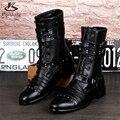 Микрофибра большие ботинки размер США 9 Заклепки моды для мужчин сапоги острым носом ручной черный 2017 весна внутренняя высота Высокой обуви трубки