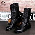 Microfiber big shoes US size 9 Rivets men fashion boots pointed toe handmade black 2017 sping inner height High shoe tube