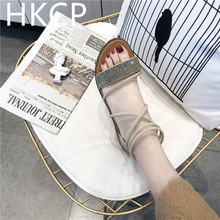 HKCP Shoe lady 2019 new Korean flat shoes soft sister go with simple water diamond banding wedges and Roman sandals C257