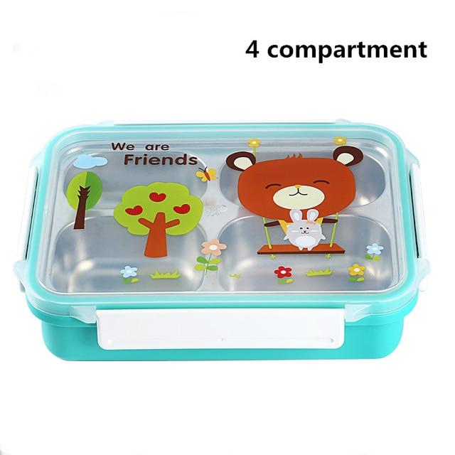 Green 4compartments Cheap bento boxes 5c6479e2ee0b4