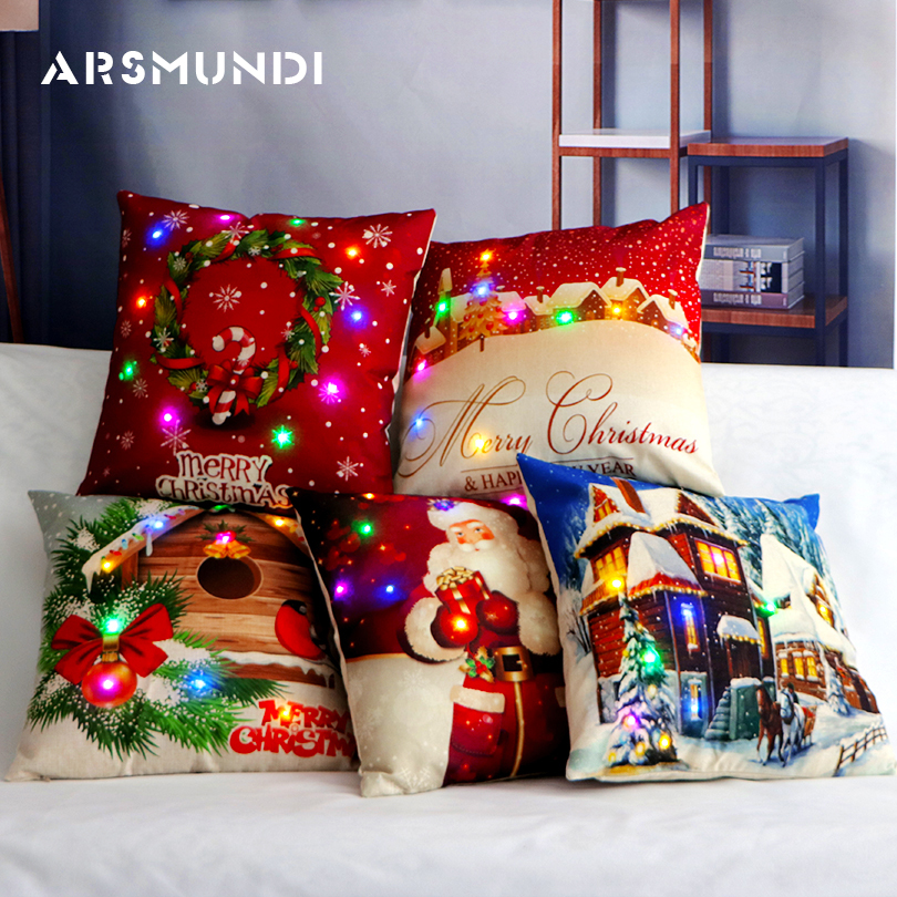Flax Fashion Merry Christmas Cushion Cover Led Simple Happy New Year Pillow Case Snow Vintage Home Bed Decorative Pillow Case