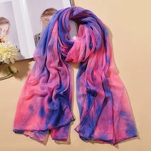 160*80cm 16 Color Summer Women Gradient Chiffon Pashmina Fashion Print Scarf Bicycle Sunscreen Rainbow Beach Towel Silk Scarf chic style gradient color irregular print anti uv scarf for women