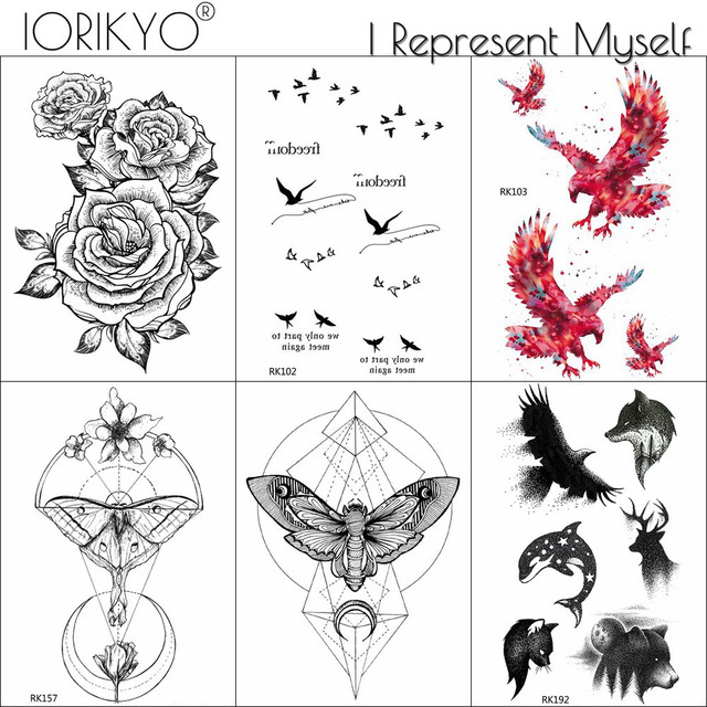 0d857f188 IORIKYO Geometric Moth Temporary Tattoo Small Birds Sticker Men Chest Eagle  Fake Tatoos Black Women Chains