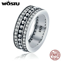WOSTU 2017 New Fashion Real 925 Sterling Silver Vintage Style Forever Love Finger Rings For Women