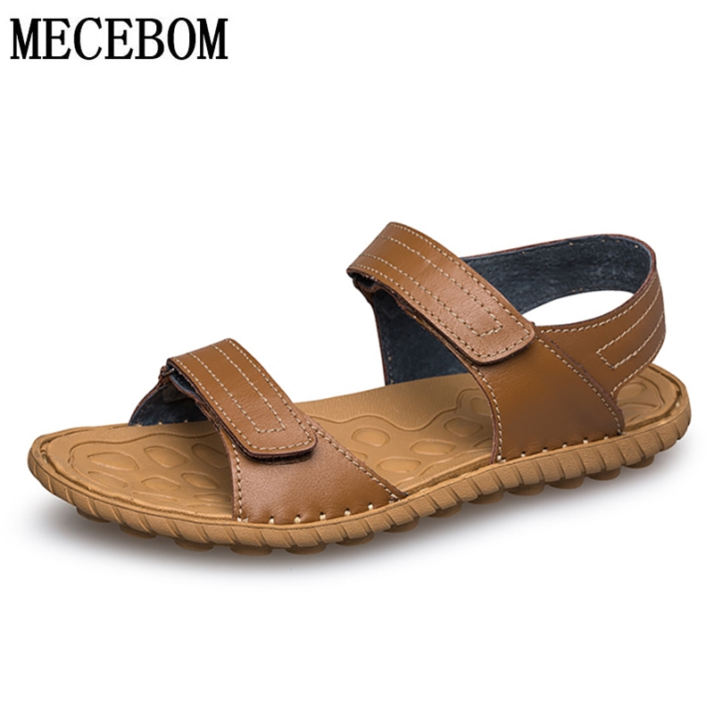 Men Sandals Casual-Shoes Comfortable Genuine-Leather Men's Summer Hook-Loop Gentleman
