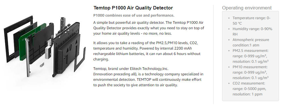 US $169 99 |Temtop P1000 Air Quality Monitor for PM2 5 PM10 CO2 Temperature  Humidity Indoor Detector Large LCD Display Rechargeable battery-in Gas