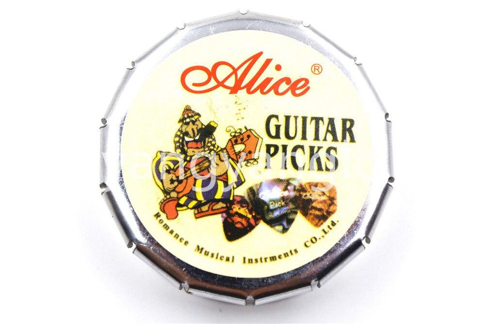 Alice Small Round Metal Pick Holder Case Box 12pcs Pearl Celluloid - Երաժշտական գործիքներ - Լուսանկար 5