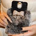 Pele De luxo Fluffy Coque Grande Bowknot Preto Diamante Casos de Telefone Tampa Traseira para iphone 5s se 6 s 7 plus para samsung galaxy caso capa