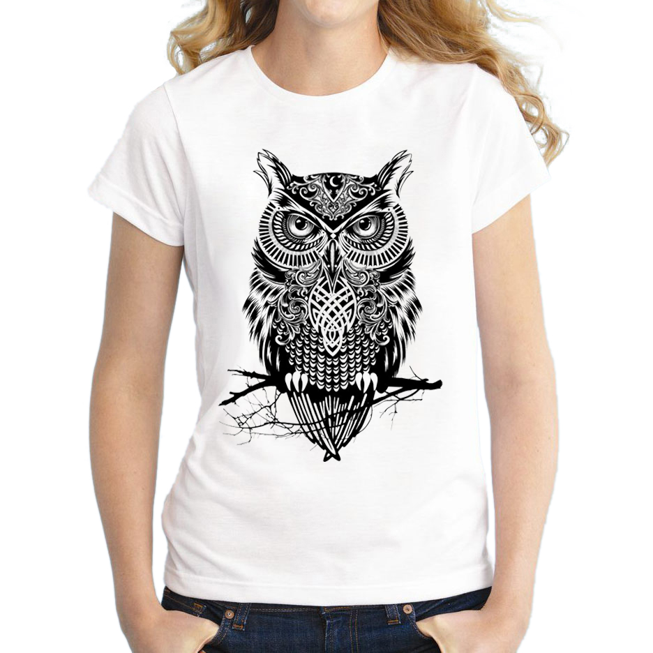 2018 Creative Design women Casual t-shirt Black Warrior Owl Printed Tops For Girl short sleeve Fashion t shirts