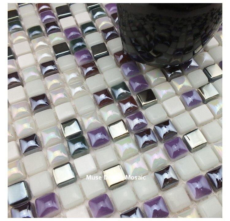 Awesome Silber Lila Weiß Glasmosaik Wandfliese Für Kithchen Backsplash Badezimmer  Grenze Fliesen DIY Hauptdekor Tapete Aufkleber In Silber Lila Weiß  Glasmosaik ...