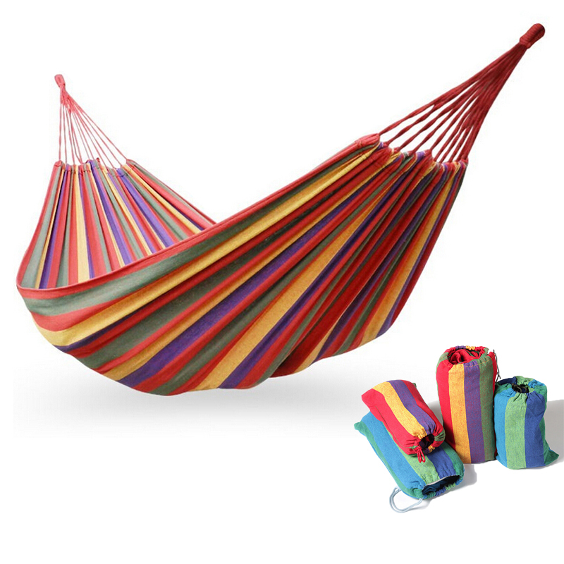280x150cm Hammock double size Canvas Stripe Portable Outdoor Garden hammock camping product swing hammocks hammock tree hammocks outdoor camping child swing outdoor