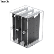 Clear Acrylic 3 Drawer Makeup Jewelry Organizer Holder Earrings Stud Portable Earring Case Cabinet