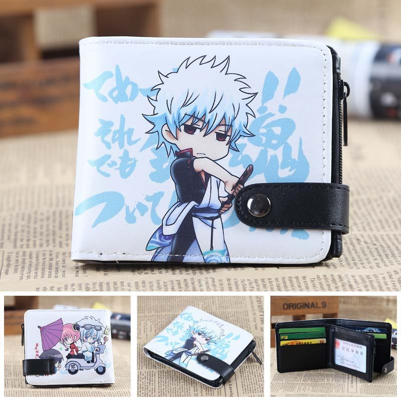 GINTAMA font b Anime b font wallet Leather pu short Bifold Purse Cosplay Wallet