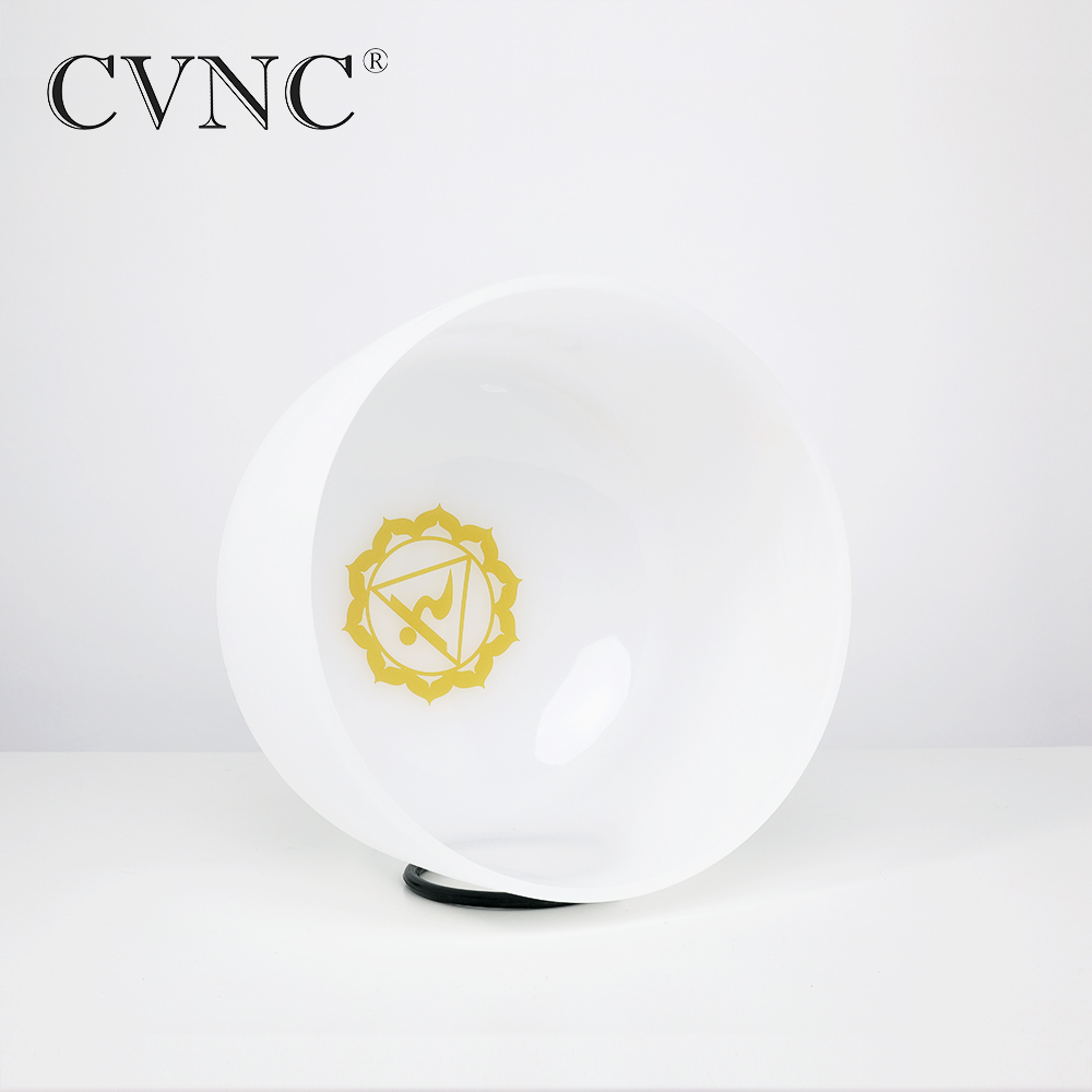 CVNC 10 Inch E Solar Plexus Yellow Chakra Symble Pattern Quartz Crystal Singing BowlCVNC 10 Inch E Solar Plexus Yellow Chakra Symble Pattern Quartz Crystal Singing Bowl