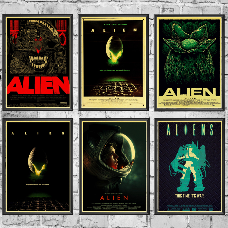 Home Art Movie Alien Retro Poster Prints High Quality  Wall Stickers  For Living Room Home Decoration