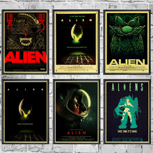 Home Art Movie Alien Retro Poster Prints High Quality Wall Stickers For Living Room Home Decoration(China)
