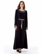 muslim Kaftan Maxi black Long sleeve long Dress moroccan clothing Islamic abaya arab dubai jalabiya autumn Robe women gown 1623