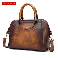 Custom Handmade Genuine Leather Vintage Brown Bag Women Trapeze Bag High Quality Factory Real Leather Bag