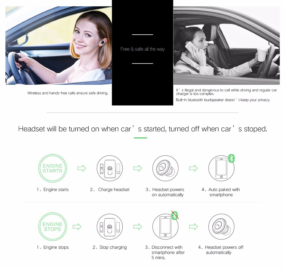 OVEVO Q8 Car Charger USB interface Bluetooth Stereo Headset Answer call For Phone Mini Adapter BT 4.0 Earphone Auto charging remax 2 in1 mini bluetooth 4 0 headphones usb car charger dock wireless car headset bluetooth earphone for iphone 7 6s android
