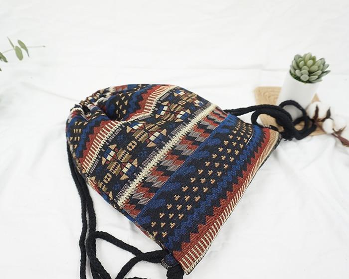HTB1CbYTdqSWBuNjSsrbq6y0mVXaQ LilyHood Women Fabric Backpack Female Gypsy Bohemian Boho Chic Aztec Ibiza Tribal Ethnic Ibiza Brown Drawstring Rucksack Bags