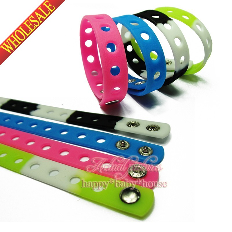 DHL OR EMS 18CM 200PCS Mixed 17 Colors Silicone Wristbands Soft Bracelets Bands for Shoe Charms