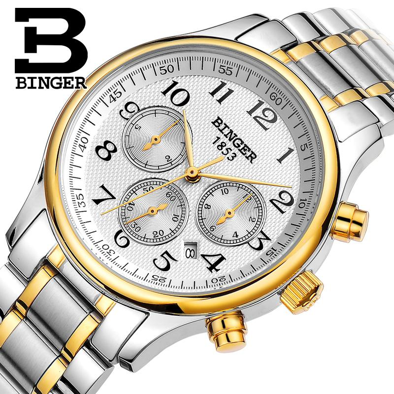Military Switzerland Automatic Mechanical Men Watch Waterproof Wrist Sapphire Reloj Hombre Mens Watches Top Brand Luxury B6036 switzerland men watch automatic mechanical binger luxury brand wrist reloj hombre men watches stainless steel sapphire b 5067m