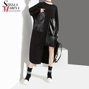 Image 1 - Женское Повседневное платье с бахромой, черное свободное платье большого размера из искусственной кожи с длинными рукавами и карманами, модель 2020 на осень и зиму, 4029