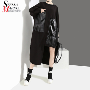 Image 1 - 2020 Women Autumn Winter Casual Big Size Black Dress Long Sleeve PU Pocket Fringes Ladies Unique Dress Loose Style vestidos 4029
