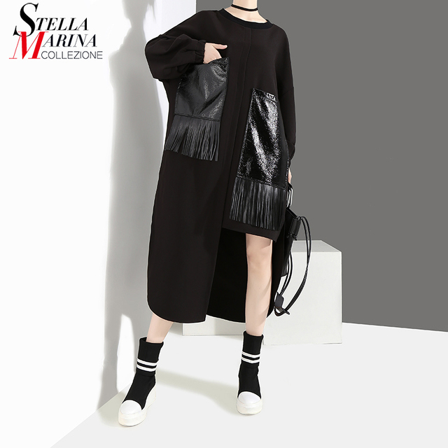 2020 Women Autumn Winter Casual Big Size Black Dress Long Sleeve PU Pocket Fringes Ladies Unique Dress Loose Style vestidos 4029