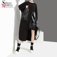 377cc122a3c6fe Neue 2019 Frauen Winter Kleidung Plus Größe Solid Black Lange Kleid Mit PU  Tasche & Quaste Mädchen Spezielle Tragen Kleid lose S..