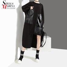 Vestido negro informal de talla grande para mujer, vestido negro de manga larga con bolsillo de la PU, con flecos, estilo único, 2020