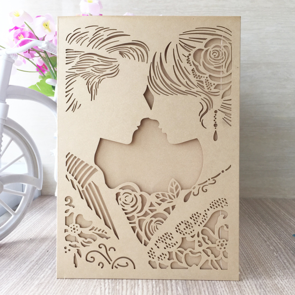 Hot Sale Wedding Invitations Cards With Bride and Groom Hollow ...