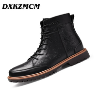 DXKZMCM 2018 Genuine Leather Men Boots Winter Warm Fur Working Snow Boots Shoes High Quality Men